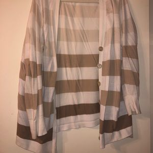Gradient brown striped cardigan